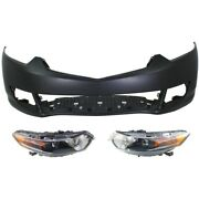 Hid Headlights Lamps Set Of 3 Front Hid/xenon Left-and-right Sedan For Acura Tsx