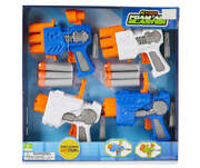 New In Box Blue And White Mini Foam Air Dart Blasters, 4-pack From Play Zone