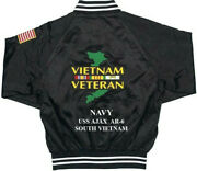 Vietnam Uss Ajax Ar-6 Navy 1-sided Satin Jacket Back Only Embroidered