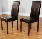 Brown Leather Dining Room Chairs Set Of 2 Parson Chair Furniture High Back New