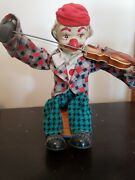 1950 Alps Vintage Happy Fiddler Battery Oper Clown Playing Violin Tin Toyworks