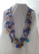 Antique Tibal Ethnic Sea Glass Lether Rope Wired Chunky Unique Necklace Unusual