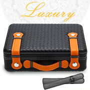 Luxury Travel Black Leather Cigar Case Humidor Box Humidifier With Hygrometer