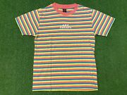 Ofwgkta Odd Future Pink Blue Yellow Striped Embroidered T-shirt Size S