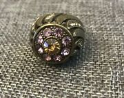 Size 7 Vintage Antique Gold Tone Purple Yellow Rhinestone Ring Costume Jewelry