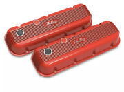 Holley 241-303 Holley Red Machined Finish Bbc Finned Cast Aluminum Valve Covers