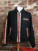 Rare Vintage Motorcycle Jacket Racing Leather Wool Patches