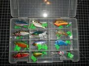 Vintage Lot Of 12 Various Sizes And Colors Classic Hard Plastic Crankbaits