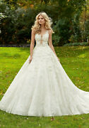 Brand New Mori Lee Maritza Cathedral Train Floral Lace Appliquandeacutes Gown Style 8128