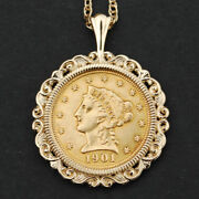 Us 1901 Liberty Head Quarter Eagle 2.50 Dollar Gold Coin 14k Gold Necklace New