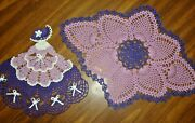 Tams Lavender And Purple Hand Crocheted Doily Setcrinoline Ladyoval Pineapples