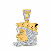 10kt Yellow Gold Mens Round Diamond King Playing Card Charm Pendant 1/2 Cttw