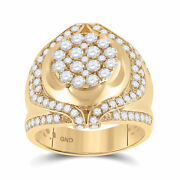 10kt Yellow Gold Mens Round Diamond Cluster Ring 2-1/4 Cttw