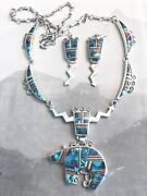 Vintage Native American Multi-stone Necklace And Earrings With Large Bear Pendantandnbsp