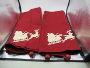 Set 2 Pottery Barn Large Christmas Appliqued Towels Jingle Bell Corners Red Vgc