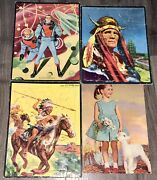 4 Vintage 1950's Large Frame Tray Puzzles Rip Foster Indian Chief Girl W/lamb