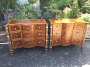 """Vintage Pair Maitland Smith 9 Drawer Dressers 38"""" Wide 32"""" High 18"""" Deep Signed"""