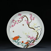 10.2 Qing Dynasty Old Porcelain Yongzheng Famille Rose Peony Plum Blossom Plate