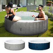 4-6 Person Portable Hot Tub Spa Outdoor Round Heated Spa W/ 130 Bubble Jets