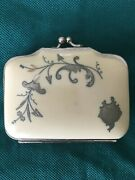 French Ivory Silver Inlaid Antique Coin Purse