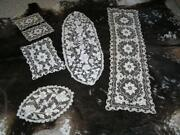 Antique Lot Of 8 Matching Runners And Doilies Belgium Cut Lace Floral Fine Estate