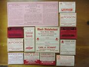 13-old Large Poison Pharmacy-apothecary-drug Store Medicine Bottle Label Lot=