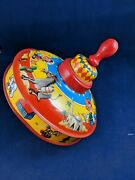 Tin Litho Spinning Toy Top Made In Western Germany Snake Charmer Ect Great Cond.