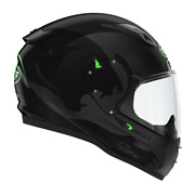 Roof Ro200 Carbon Panther Full Face Motorcycle Helmet Fluo Green Free Visor