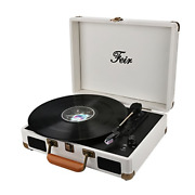 Vinyl Stereo White Record Player 3 Speed Portable Turntable Suitcase Built In 2
