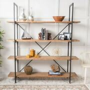 4 Tier Display And Storage Industrial Wood And Iron Bookcase Shelf Organizer Rack
