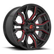 20 Inch Black Red Rims Wheels Fuel Rage D712 20x10 Lifted Toyota Tacoma 4runner