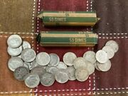 2-5.00 Roll - 10.00 Ten Dollar Face Value 90 Silver Roosevelt And Mercury Dimes