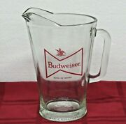 Budweiser King Of Beers Heavy Glass Pub Beer Pitcher Ice Rim Dimpled Bottom