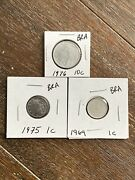 Lot Of 3 Brazilian Coins - 1 And 10 Centavos 1969 To 1976