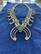Sterling Silver And Morenci Turquoise Squash Blossom Necklace Hand Made
