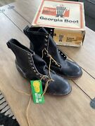 Vintage Georgia Boot Safety Toe Black Leather Made In America 11 Nos Box