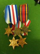Wwii Campaign Stars 1939-1945, Italy, Burma, Atlantic And France And Germany 5x