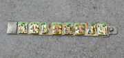Antique Painted Mother Of Pearl Asian Persian Sterling 8 Panel Bracelet Mop