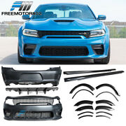 Fits 15-20 Charger Widebody Front Rear Side Bodykits Carbon Fiber Look Diffuser