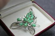 The Best Vintage 18k White Gold Jadeite Jade Brooch Pin Pedant By Chow Tai Fook
