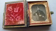 Civil War Tintype Soldier/officer With Ornate Case