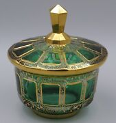 Bohemian Moser Green Cabochon Style Covered Candy Dish Bowl Gold Highlights