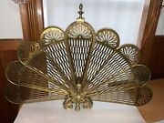 Vintage Peacock Style Victorian Brass Fanning Fireplace Screen And Winged Gargoyle