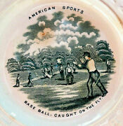 American Sports Baseball Abc Plate--caught On The Fly Mint Condition And Rare
