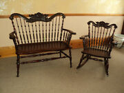 Antique Mahogany Bench And Rocker Lionand039s Heads Binghampton Chair Co Price Reduced