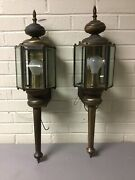 """Large Pair Vintage Brass Outdoor Sconce Fixture Porch Lights 26"""" Tall Beveled"""