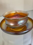 L. C. Favrile Art Glass Pig Tail Bowl And Saucer Set