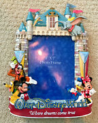 Vintage And Rare Walt Disney World Picture Frame Mickey Minnie Mouse Donald Duck