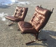 Matching His Hers Westnofa Siesta Rosewood Leather Danish Modern Lounge Chairs