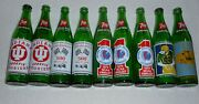 Vintage 70and039s Indiana 7 Up Bottles Lot Of 9 - Notre Dame - Indiana - Indy 500 -